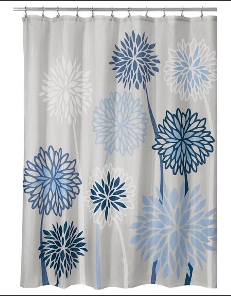 71920 Shower Curtain Zinnia Floral SC Gray Blue