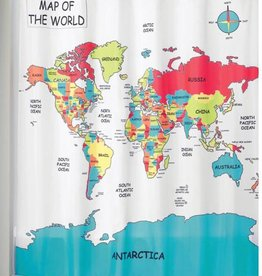 Shower Curtain World Map
