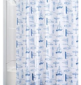 Shower Curtain Sailboat White Navy