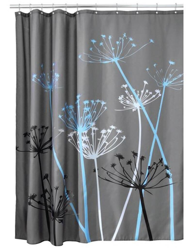 37221 Shower Curtain Thistle SC Gray Blue