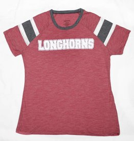 Red/Grey Stripe Longhorn Glitter Tee