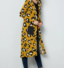 Celeste Cheetah Print Long Knit Cardigan