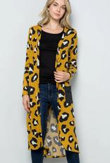 Celeste Cheetah Print Long Knit Cardigan