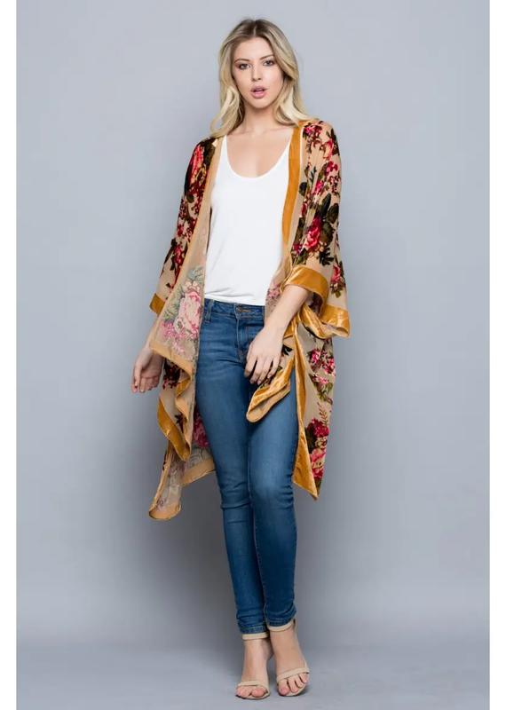 Cut Velvet Golden Rose Kimono