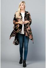 Cut Velvet Black & Pink Cherry Blossom Kimono