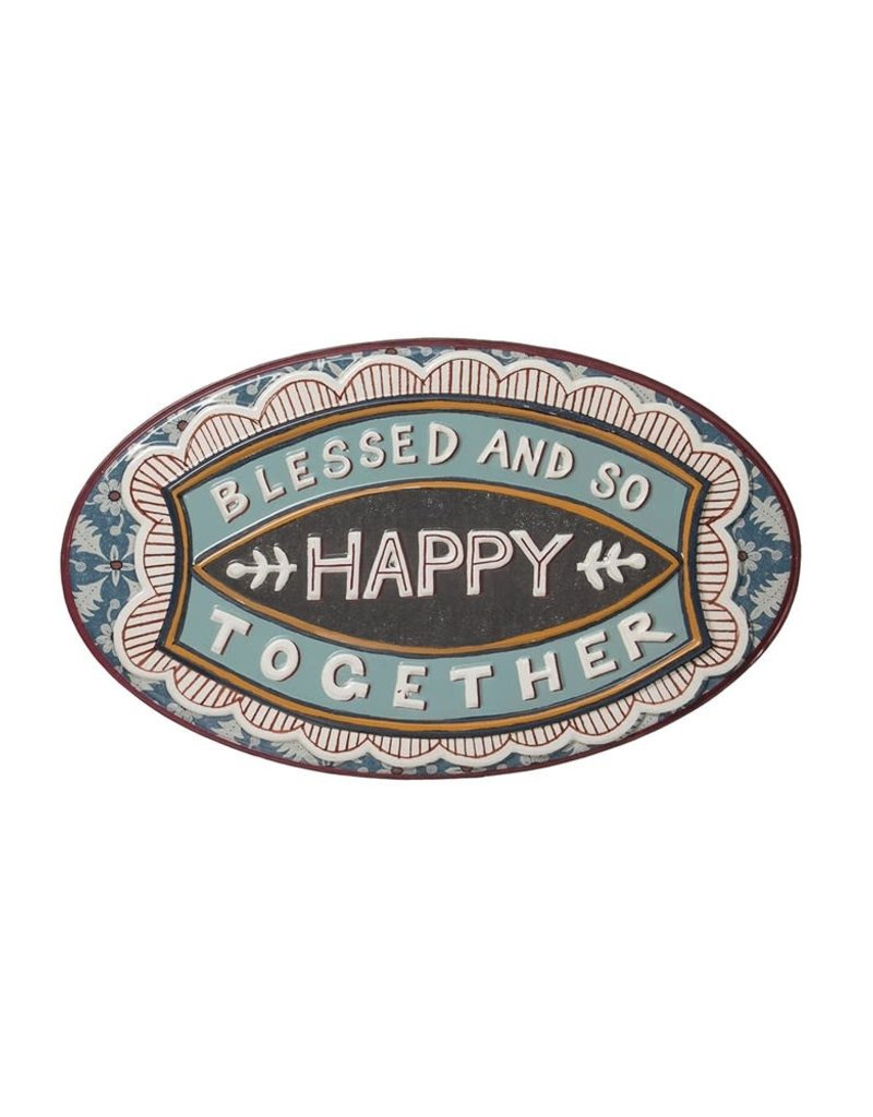 Creative Co-Op Embossed Enameled Wall Sign - Blessed And So Happy Together