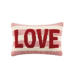 LOVE STRIPE Rug Hook Pillow