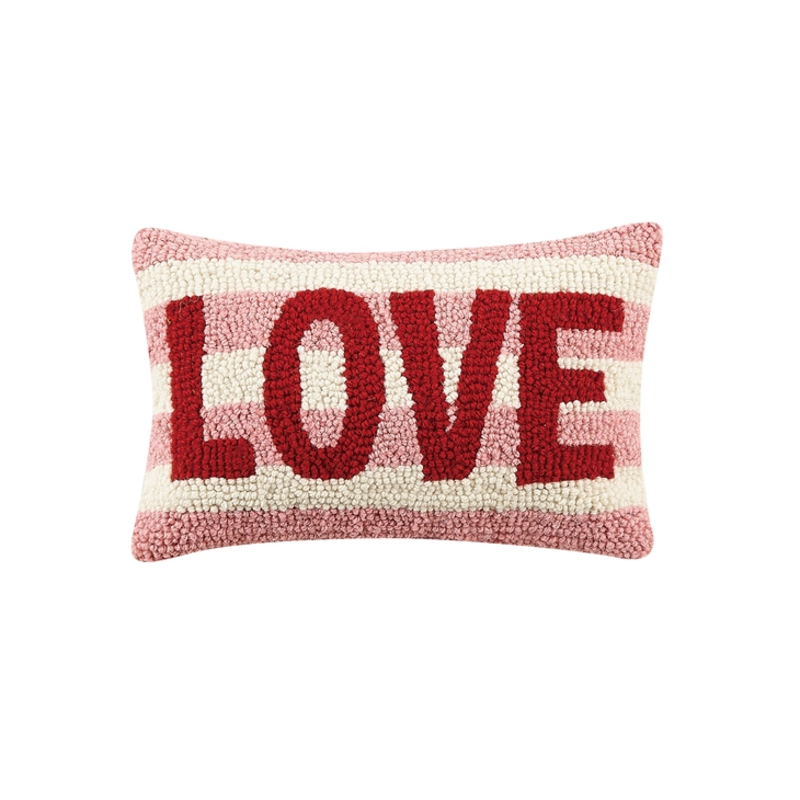 LOVE STRIPE Rug Hook Pillow