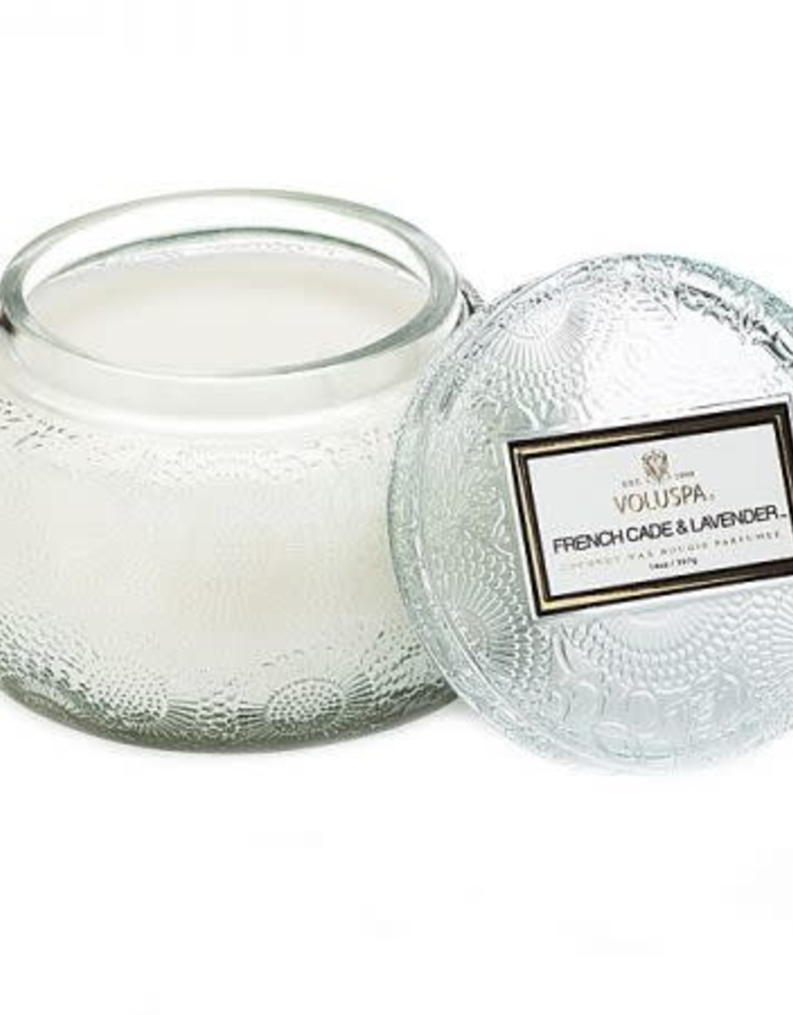 Voluspa Embossed Glass Chawan Bowl Candle With Lid