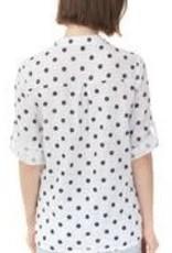 Charlie B Polka Dot Roll Sleeve Gauze Blouse