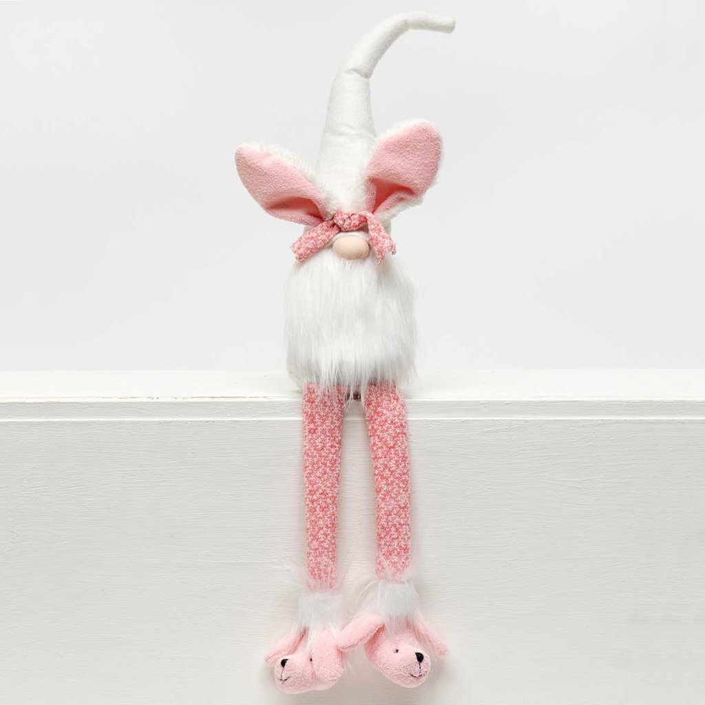 """Gnome Bunny 25.50"""" With Pink Legs Poodle Slippers"""