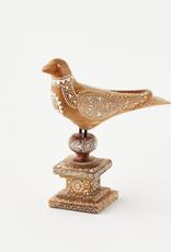 "Beautiful Hand Carved Wood Bird on Pedstal 12"""