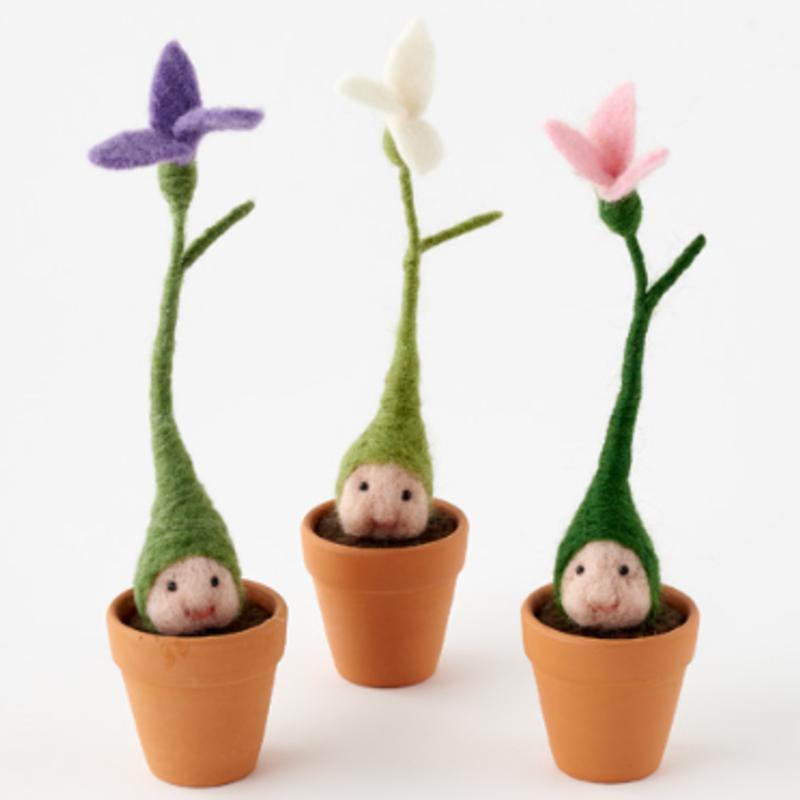 Felted Wool Baby in Terra Cotta Flower Pot