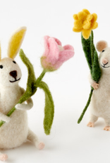 Felted Wool Bunny OR Mouse with Flower