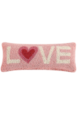 LOVE Two-Tone Heart Rug Hook Pillow
