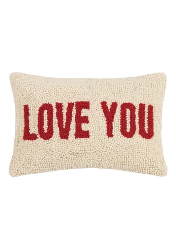 LOVE YOU Rug Hook Pillow