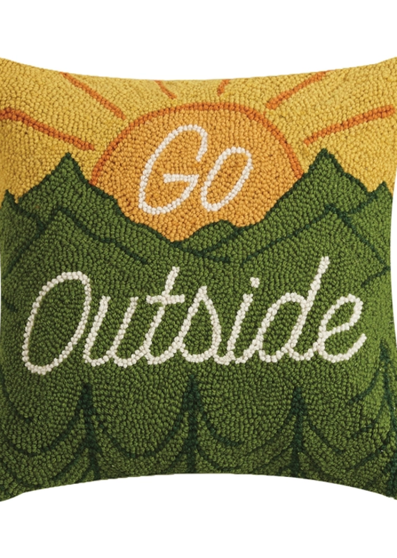 Go Outside Rug Hook Pillow