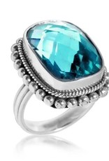 .925 Sterling Faceted Large Gemstone Ring