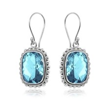 .925 Sterling Faceted Gemstone Earrings