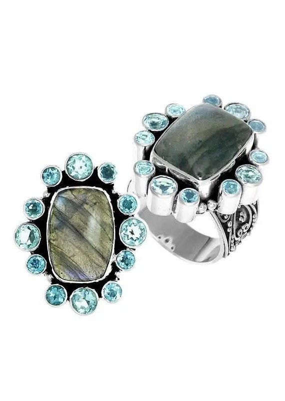 .925 Sterling Labradorite & Blue Topaz Ring
