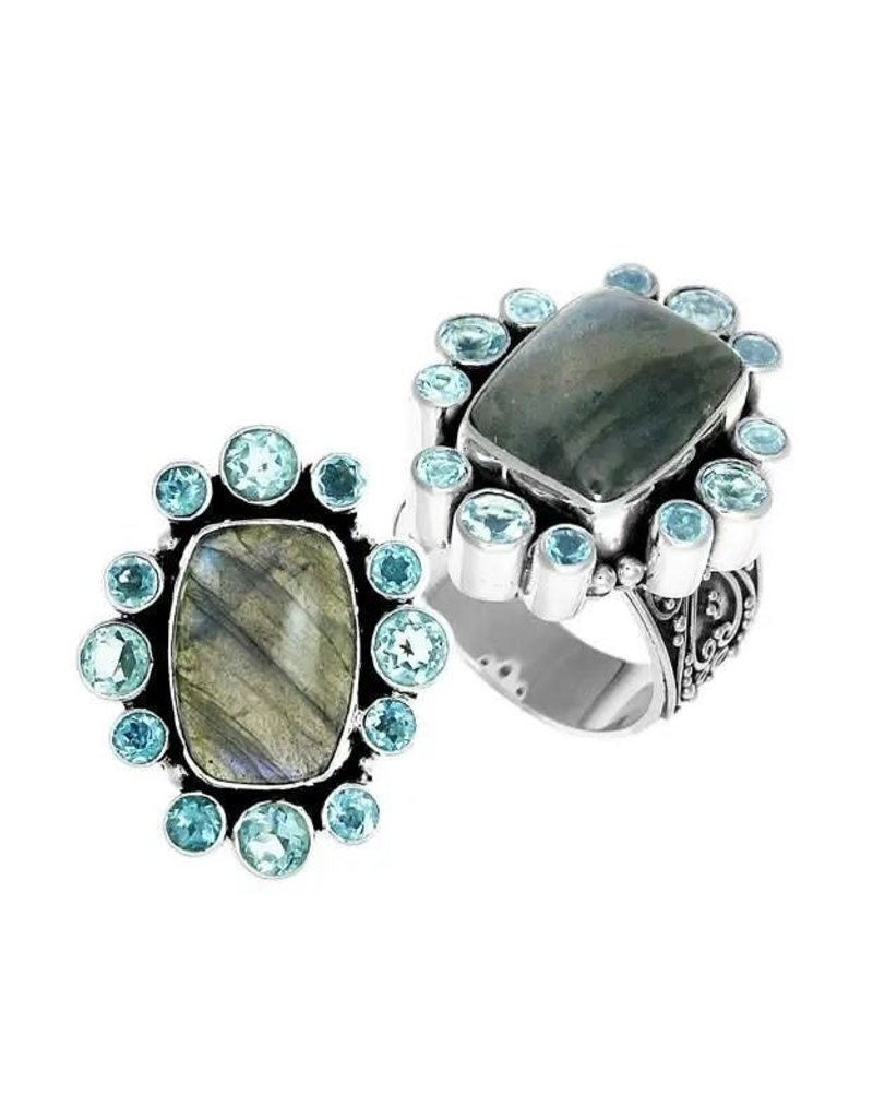 .925 Sterling Labradorite & Blue Topaz Ring