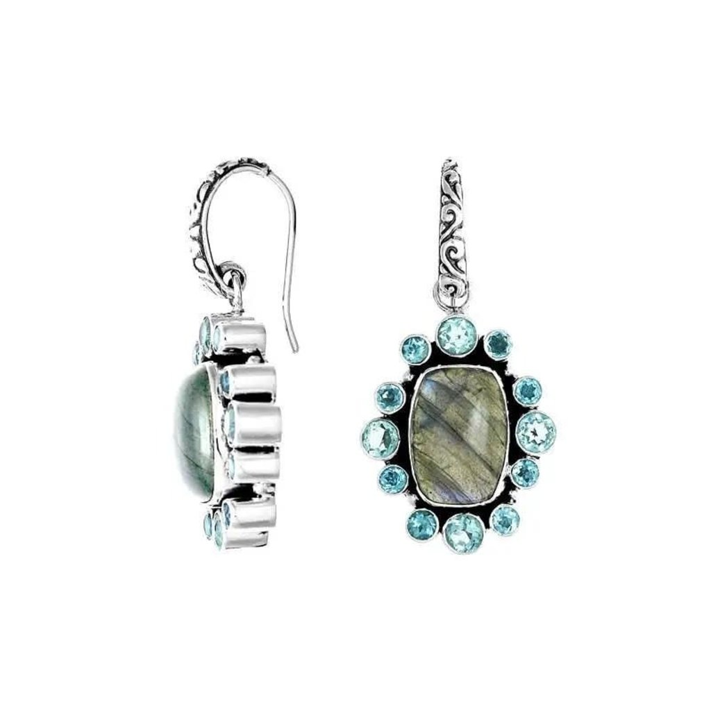 .925 Sterling Labradorite & Blue Topaz Earrings