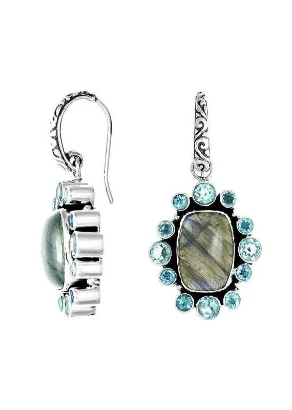 .925 Sterling Labradorite & Blue Topaz Earrings