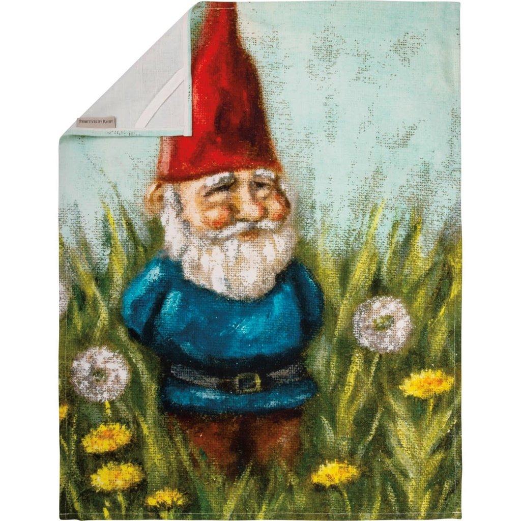 Beautiful Screen Printed Gnome Dish Towel