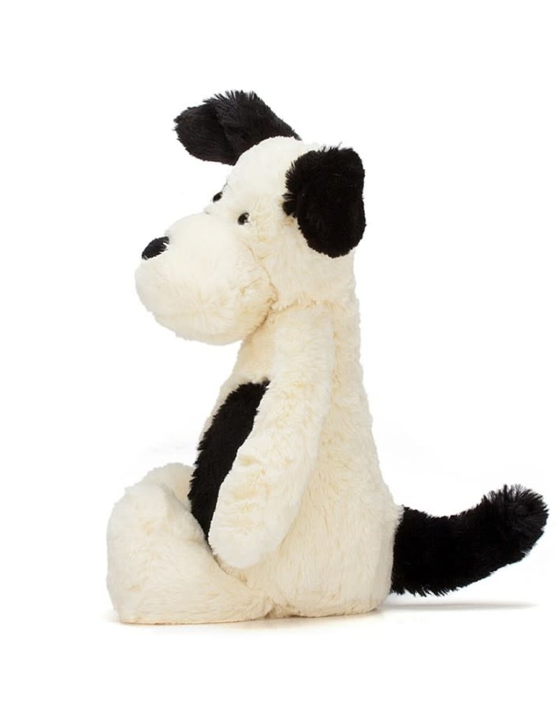 "Jellycat Bashful Black & Cream Puppy - 12"" MEDIUM"
