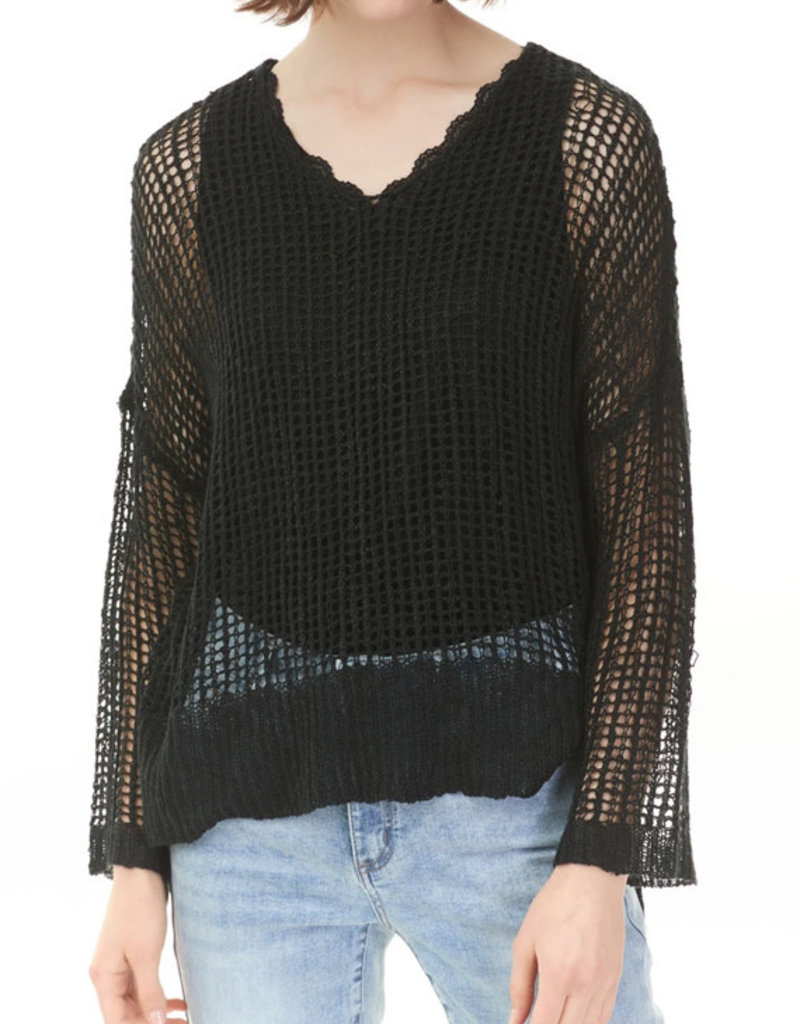 Charlie B Crochet Slouchy Sweater