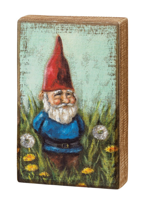 Primitives By Kathy Garden Gnome Wooden Box Sign
