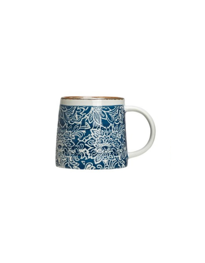 Creative Co-Op Hand-Stamped Stoneware Mug