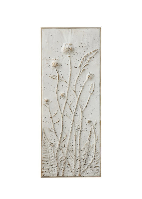 Creative Co-Op Embossed Metal Wall Panel - Closed Dandelions