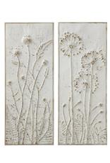 Creative Co-Op  Embossed Metal Wall Panel - Closed Dandelions