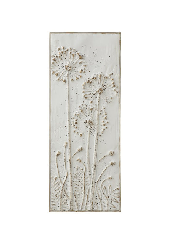 Creative Co-Op Embossed Metal Wall Panel - Open Dandelions