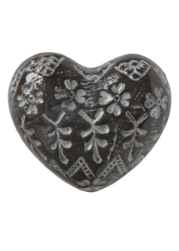 Creative Co-Op Embossed Stoneware Heart