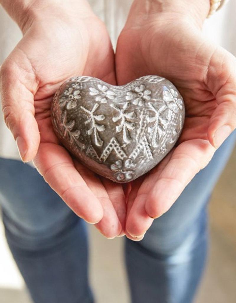 Creative Co-Op Embossed Stoneware Heart