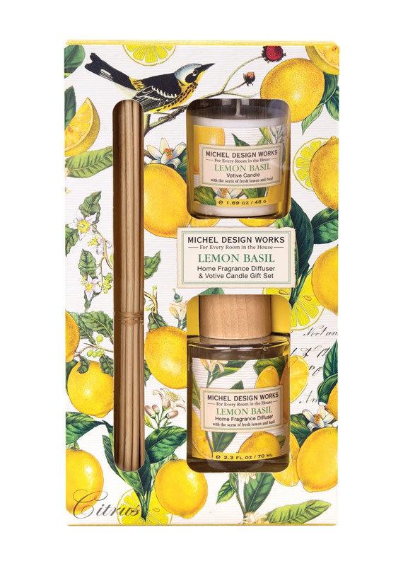 Michel Design Works Lemon Basil Diffuser and Votive Candle Set