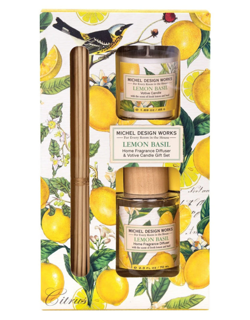 Michel Design Works Lemon Basil Diffuser and Votive Candle Set