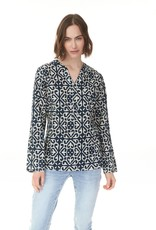 Charlie B Navy Floral Button Tunic