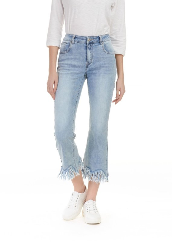 Charlie B Charlie B Fringe Crop Jean - Light Blue Wash