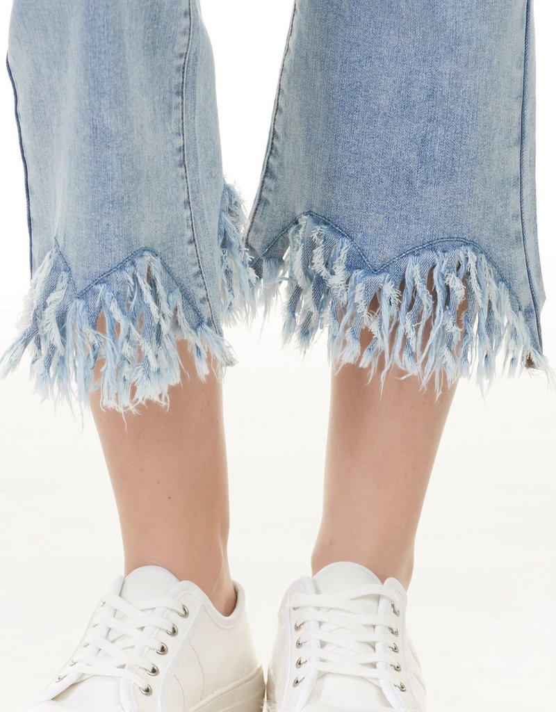 Charlie B Charlie B Fringe Crop Jean - Light Blue Wash