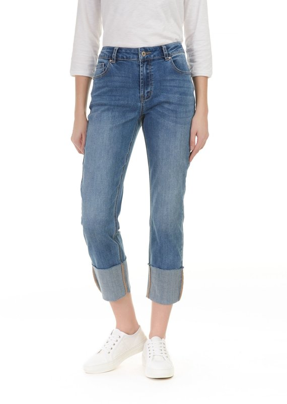 Charlie B Charlie B Light Blue Wash Wider Leg Big Cuff Jean