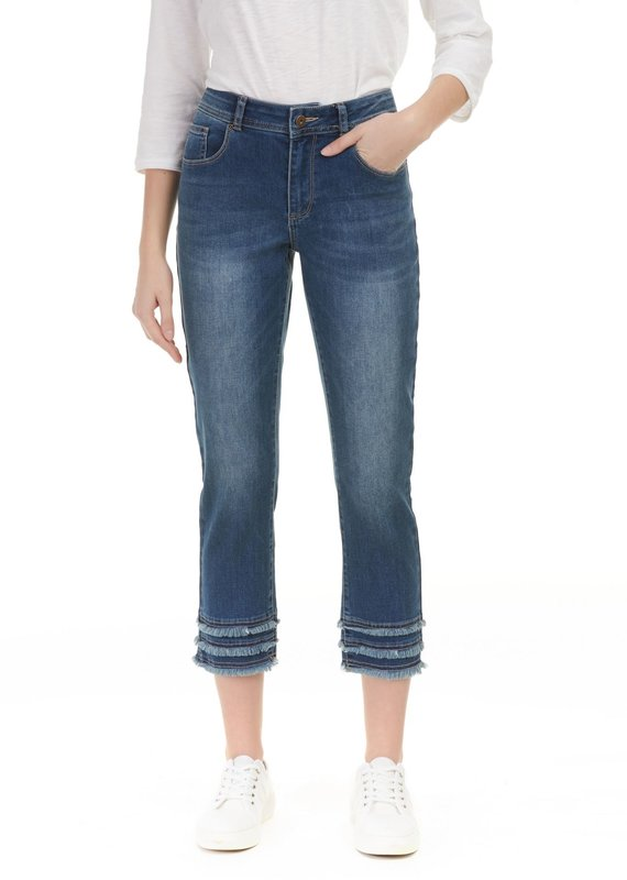 Charlie B Stretch Denim 3 Row Fringe