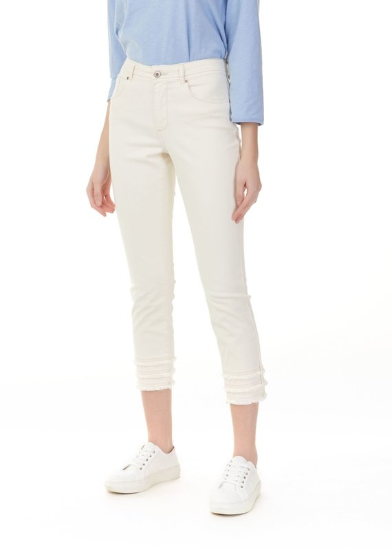 Charlie B 3 Row Fringe Straight Leg Color Twill Jean