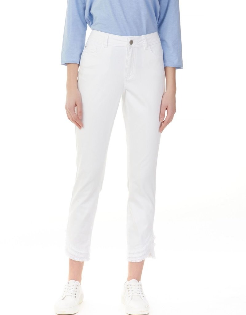 Charlie B Ripped Hem Five Pocket Jean - White