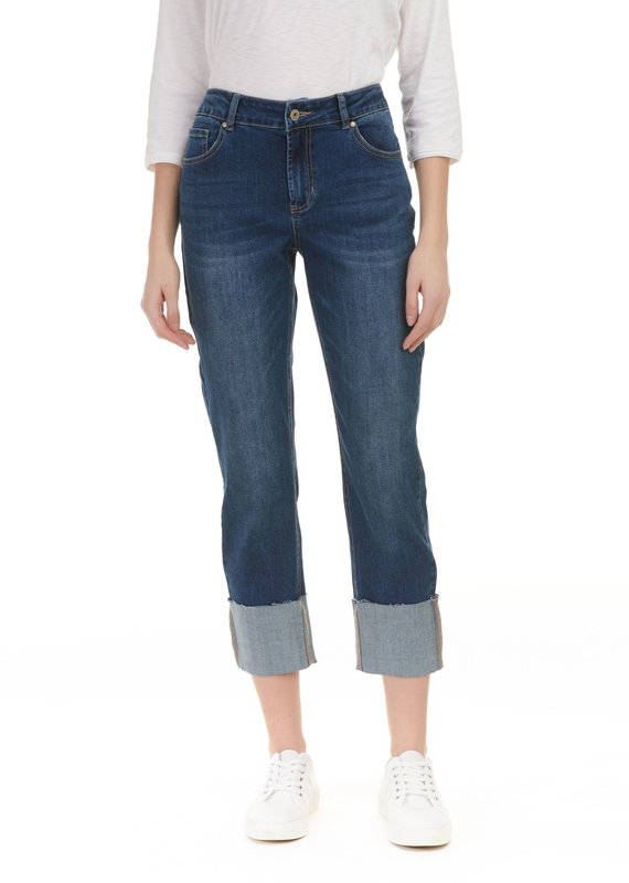 Charlie B Dark Wash Wide Leg Cuffed Jean