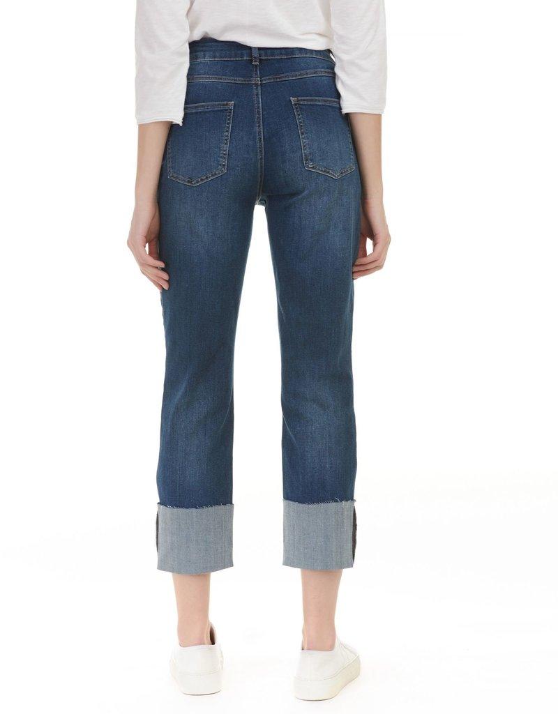 Charlie B Dark Wash Wide Leg Cuffed Jean
