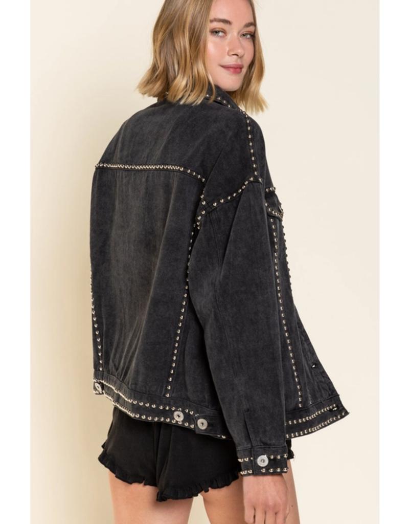 POL Clothing Silver Studded Black Denim Jacket