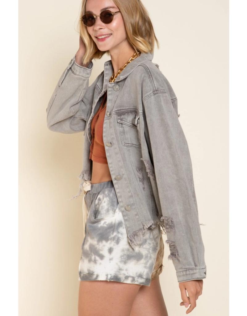 POL Clothing Distressed Gray Denim Jacket
